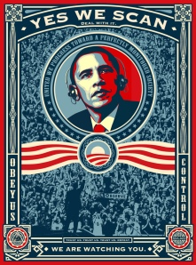 Obamas Wahlkampfslogan im Zuge der PRISM-Affäre umgedeutet (Quelle Grafik: René Walter)
